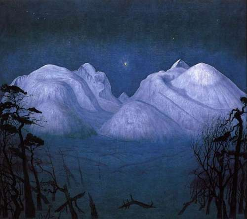 "obraz H. Sohlberga ""Zimowa noc w  Rondane"""